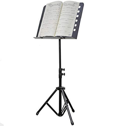 Para Partitura Plegable Negro Soporte de Música, Tenedor de Metal Portátil para la Guitarra Rendimiento Instrumental y Juego de Banda, Trípode Telescópico Ajustable Atriles