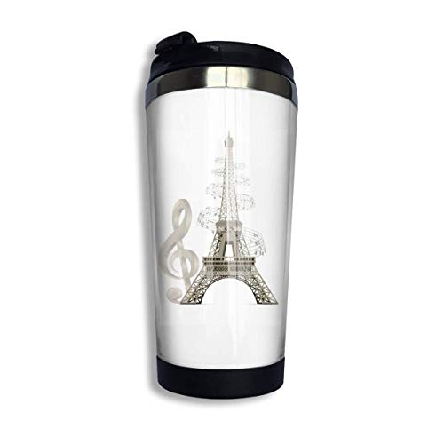 tenghanhao Tazza da caffè Coffee Travel Mug Music Eiffel Tower Bottle Car Tumbler Cup Iced Tea Or Water Insulated Thermal Cup Stainless Steel for Hiking Camping Working