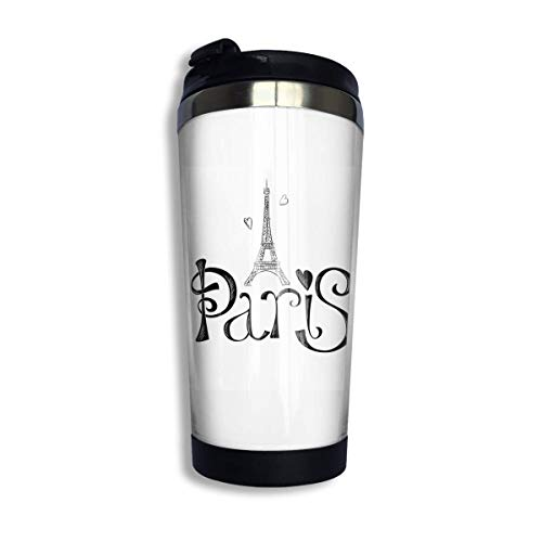 tenghanhao Tazza da caffè Coffee Travel Mug Paris Eiffel Tower Bottle Car Tumbler Cup Iced Tea Or Water Insulated Thermal Cup Stainless Steel for Hiking Camping Working
