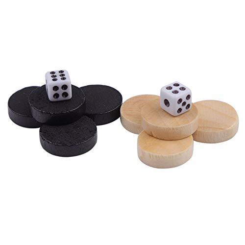 32 piezas de madera, piezas de ajedrez de backgammon para niños, juego de mesa, aprendizaje, acampada