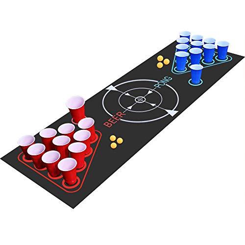 Fabu Beer Pong Kit, Juegos de Bebida, Juego Completo Beer Pong, Alfombra de Juego Beer-Pong, 22 Tazas, 6 Pelotas, para Juego de Noche y Juego de Barbacoa para Adultos(180cm*60cm)