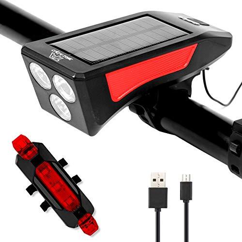 ROOTE Juego de luces LED para bicicleta, compatible con energía solar y carga USB, 3 modos de faros delanteros de bicicleta con campana trasera para ciclismo, resistente al agua IPX4