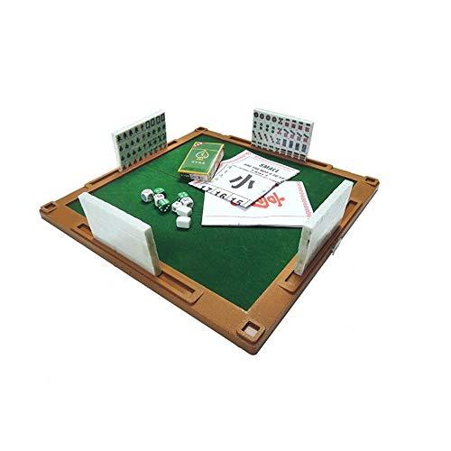 ZJY Juego de Mahjong, Kit de Juego Chino en Miniatura: con Mesa Plegable 144 Mini-Azulejos, Estuche y Accesorios: adecuados para Viajes al Aire Libre, hogar y reunión