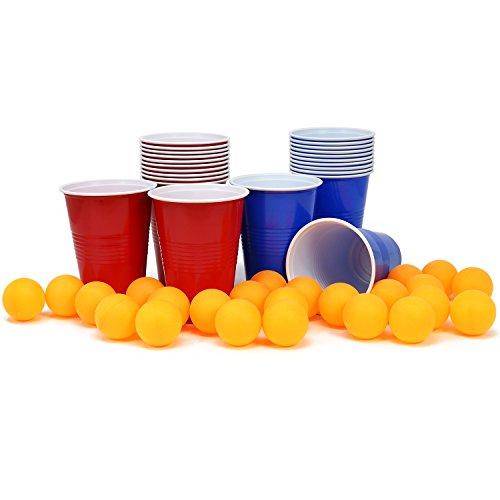com-four 48 Piezas Set Beer Pong, Beer Pong Juego de Beber con 24 Tazas y 24 Bolas (048 Piezas Tazas + Bolas)
