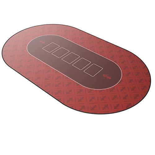 CSL – Alfombrilla de póker de 1000 x 600 - Alfombra de póker - Formato XXL - Tapete de Poker - Propia Mesa de póker – Antideslizante – Lavable - Rojo