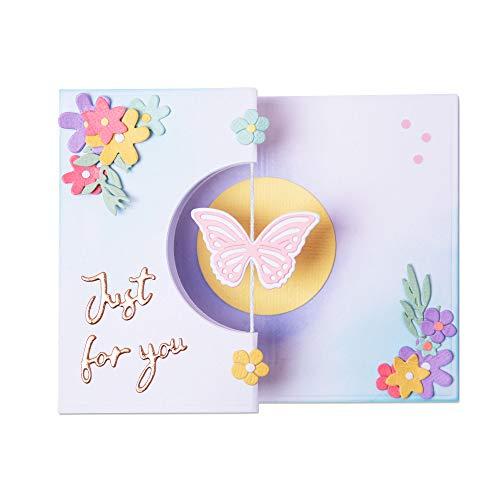Sizzix Thinlits 665074 Tarjeta giratoria de mariposa por Georgie Evans (14 unidades)