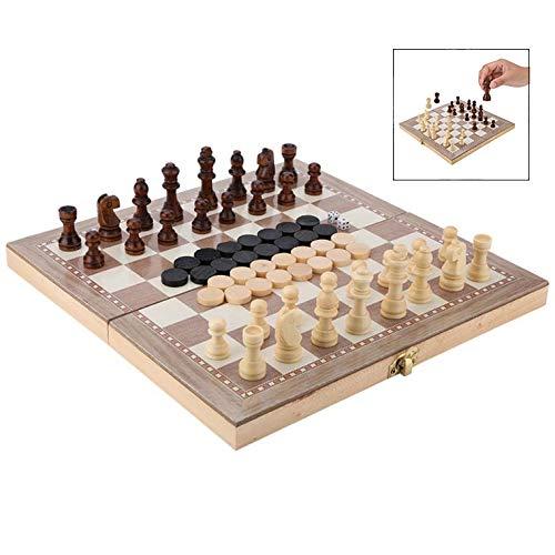 iPobie 3 en 1 Tablero de ajedrez Juego de Ajedrez, Magnético con Ajedrez,Verificadores,Backgammon para niños y Adulto Portátil de Tablero Plegable para Niños y Adultos29.3 * 29cm