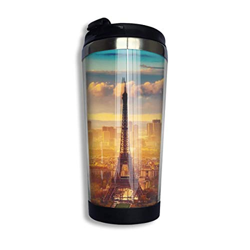 tenghanhao Tazza da caffè Coffee Travel Mug Eiffel Tower Bottle Car Tumbler Cup Iced Tea Or Water Insulated Thermal Cup Stainless Steel for Hiking Camping Working