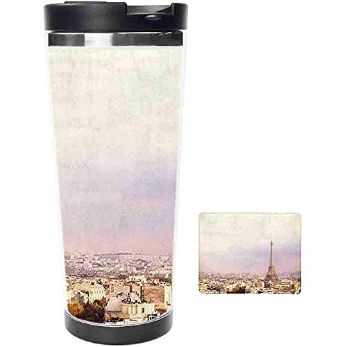 Travel Tumbler-Sunset Eiffel Tower Y European Paris City Taza Y Taza De Café De Acero Inoxidable-Taza Térmica Con Tapa Deslizante A Prueba De Salpicaduras-16 Oz