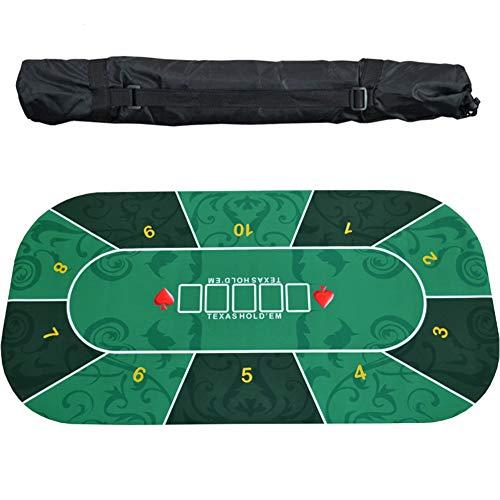 EYLIFE Alfombra de póker Profesional Antideslizante, Tablero de Poker Plegable, diseño de Mesa de póker portátil de Goma para 10 Jugadores