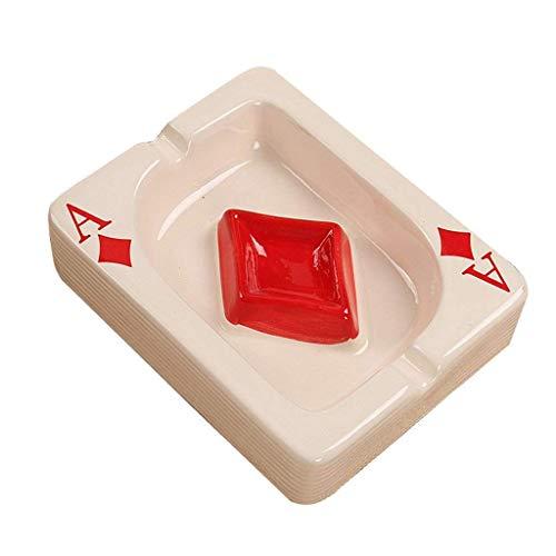 FFLJT Creativo del Cigarrillo cenicero de cerámica de Mesa portátil Moderna Ceniceros Poker cenicero del cigarro de Escritorio Cubierta al Aire Libre (Color : Red)