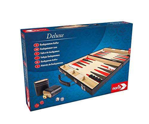 Noris 606101712 Deluxe Backgammon, el clásico de Juego en un práctico maletín con Acabado Elegante, también Adecuado para Viajes, a Partir de 8 años.