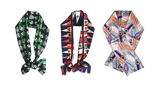 Lote de 3 pañuelos (145 x 18 cm) de doble cara de poliéster con efecto seda, diseños: cabello verde, llama roja y verde, pulsera morado claro. Flamme rouge et verte M