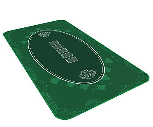 Alfombra de póquer de diseño Verde en 140 x 75cm para tu Propia Mesa de póquer - Paño de póquer Alfombra de póquer - Alfombra de Mesa de póquer