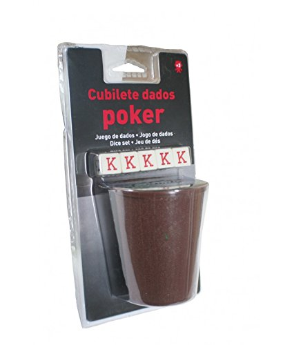 CAL FUSTER - Cubilete con Cinco Dados para Juego de póker. Medidas: 9xØ7 cm.