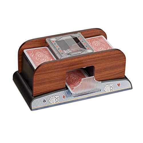 Relaxdays Mezclador de Cartas, Barajador Automático a Pilas, Efecto Madera, Plástico, Marrón, 10 x 24 x 13,5 cm (10021343)