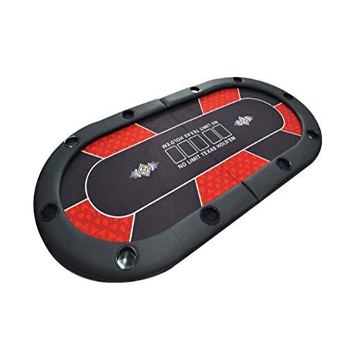 SMLZV Tapetes de Poker, Poker Plegable portátil de Mesa Oval Acolchada Plegable 2-en-1 Poker Juego de Mesa con Estuche de Transporte por 10 Jugadores Fácil de enrollar y Guardar (Color : Red)