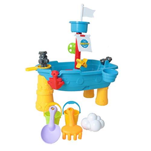 Mesa de actividades de arena y agua, mesa de juego de actividades de pirata al aire libre con juguete divertido de verano de diseño de barco