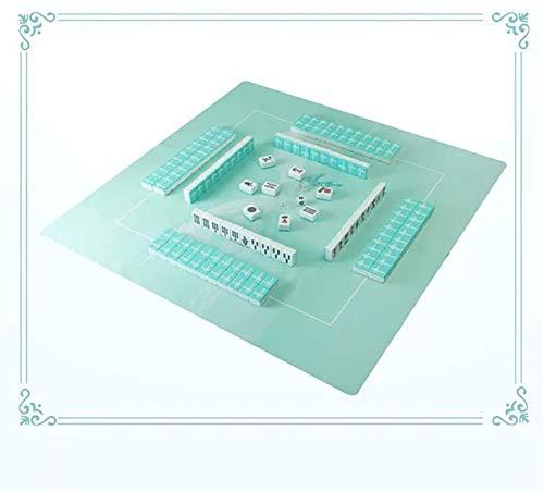 El más nuevo China Mahjong 144 Juegos tradicionales de Mahjong China con juego de mesa de mesa MAHJONG Set de azulejos Conjunto de juego Tamaño portátil Adecuado para mano humana (Color: Azul)