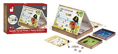 Janod - J02835 - Buque de guerra de piratas, juego familiar tocado y hundido para niños a partir de 5 años