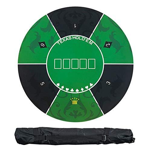 Alfombra de póquer Alfombrilla de póker profesional elástica redonda, diseño de mesa de póquer de espuma de goma portátil con bolsa de transporte, Tapete de Poker Antideslizante, juegos de póker,Verde