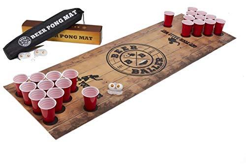 BeerBaller Beer Pong Mat | Mantel para Juego de Beer Pong | 50 Vasos Rojos + 4 Pelotas de Ping Pong + práctica Bolsa de Transporte