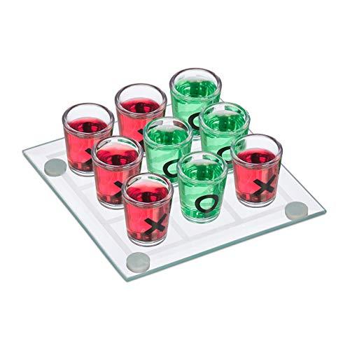relaxdays 3 en Raya Chupitos, Juego para Beber, 9 Vasos, Divertido en Despedidas, 12x12, Cristal-Plástico, Transparente, color (10022787) , color/modelo surtido