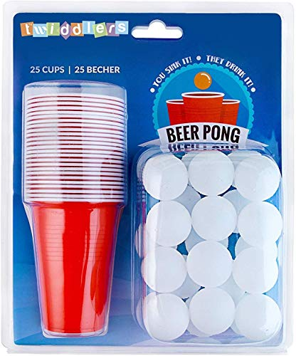 50 Piezas Juego de Beer Pong - 25 Vasos de Plástico Rojo, 25 Bolas - Resistente y No Tóxico - Juego de Beber Clásico para Adultos, Fiestas.