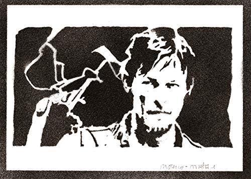 Poster Daryl Dixon The Walking Dead Grafiti Hecho a Mano - Handmade Street Art - Artwork