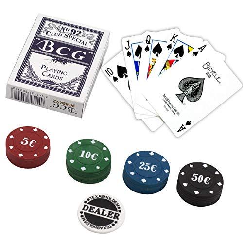 e!Orion Set de póker - Incluido Juego de Naipes, 24 fichas de póker y botón de repartidor