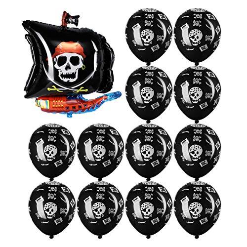 Nuobesty - Juego de 13 globos de fiesta con temática de piratas para niños, cumpleaños, baby showers
