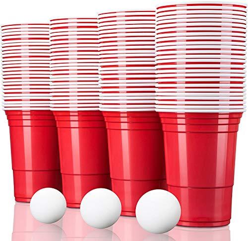 TRESKO Vaso para fiestas vaso de plástico, vaso de plástico para bebidas, para refrescos cerveza Cola cócteles cerveza botellón beer pong, rojo, 473 ml de capacidad (100 Pcs)