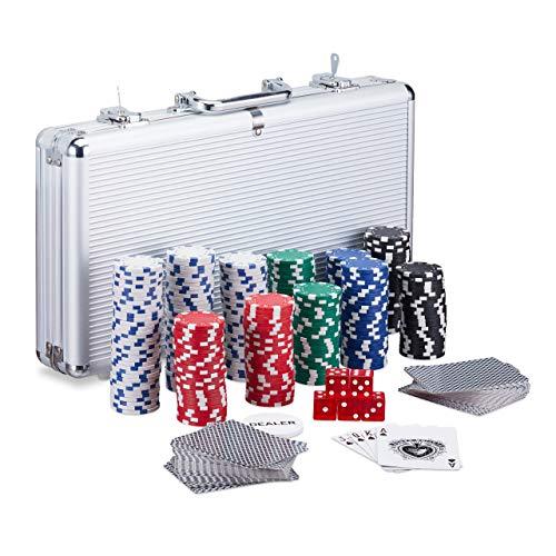 Relaxdays Maletín Póker con Llave, Set con 300 Fichas, 2 Barajas, 5 Dados y Botón Dealer, Aluminio-Plástico, Plateado, Color (10023519)