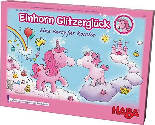 HABA- Einhorn Glitzerglück - una Fiesta para Rosalie, Encantador Juego de colaboración para 2-4 Jugadores de 4-99 años, con Reglas Sencillas para una diversión rápida. (302767)