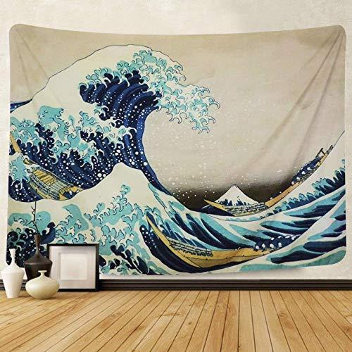 Dremisland Tapiz de Pared Gran Ola Kanagawa Colgar en la Pared Tapicería Mandala Indio Bohemio Tela Decoración para Sala Estar Dormitorio (Ola, M / 130 X 150 cm)