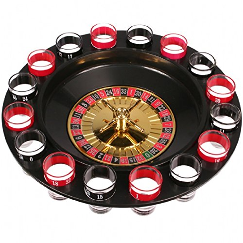 Shot Glass Roulette - Drinking Game Set (2 Balls and 16 Glasses) by Game Night
