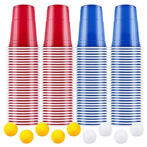 AOLUXLM Tazas de Fiesta, Vasos para Beber, 100 Beer Pong Tazas de Americanas y 10 Bolas, Vasos Reutilizable para Fiesta Navidad Cumpleaños