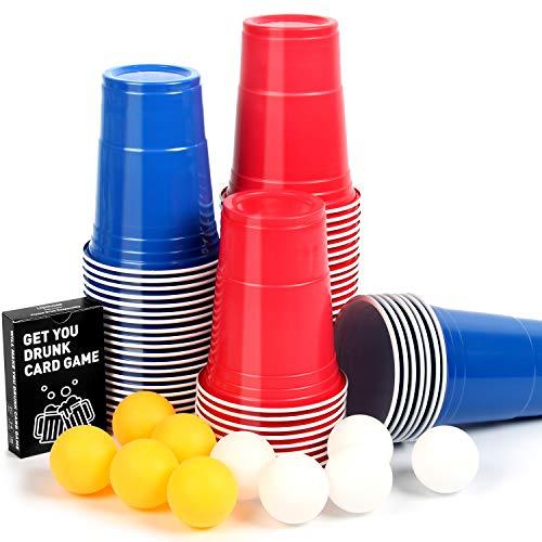 Upchase (100+10+Juego de Cartas Copas de Plastico, Beer Pong Kit, para Fiestas Vaso de Plástico, 100 de 16oz, 54 Cartas y 10 Bolas de, para Bebidas, Fiesta Celebración, Juego para Beber