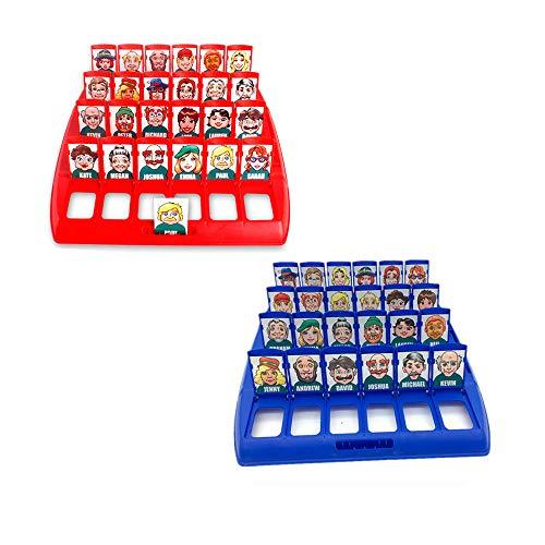 Amasawa Quién es Divertido Juego de Mesa,Adecuado para el Clásico Juego de Mesa Funny Family Guessing Games Kids Children Toy Gift (Rojo y Azul)