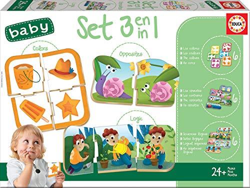 Educa- Set Baby 3 En 1 Juego Educativo para Bebés, Multicolor (18123)