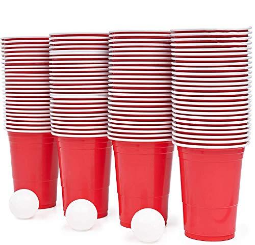 115 Piezas Juego de Beer Pong - 100 Vasos de Plástico Rojo, 15 Bolas - Resistente y No Tóxico - Juego de Beber Clásico para Adultos, Fiestas.