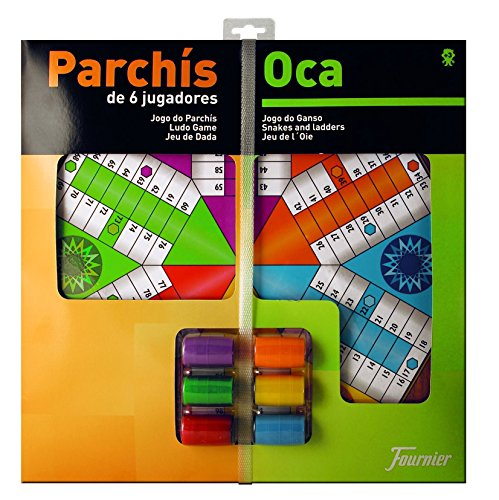 Fournier - Tablero Parchís/Oca y fichas, 40 x 40 cm, para 6 Jugadores (F29468)