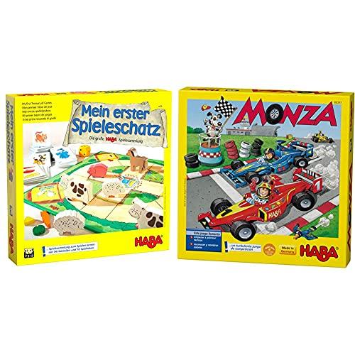 Haba Mi Primer Tesoro De Juegos La Gran Colección De Juegos De + -302247 Monza ESP, Juego De Mesa De Dados, con Una Turbulenta Carrera De Coches para 2-6 Niños De 5 Años