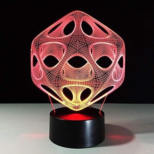 Lámpara de mesa 3D LED hueco abstracto USB multicolor luz de noche regalo decoración de dormitorio
