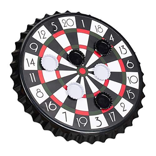 Relaxdays Diana Magnética para Chapas de Cerveza, Juego para Beber Alcohol, Plástico y Metal, 1 Ud, Ø 25 cm, Negro, Color (10023506)