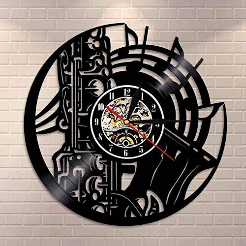 wttian Saxofón Orquesta Sonido Sinfonía Latón Disco de Vinilo Reloj Música Colgante de Pared Artista Decoración del hogar Reloj de Pared Jazz Música Regalo