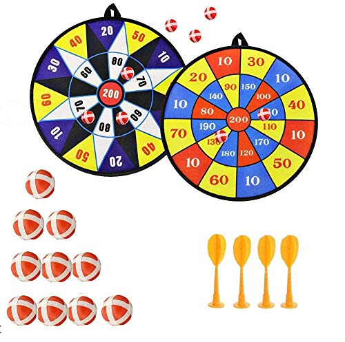 Tablero de Dardos con Velcro Seguro, 10 Sticky Balls 4 Safety Darts Self-Adhesive Target Sports Toss Game, 2 Sets para Niños