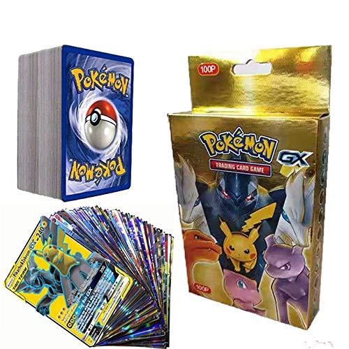 SunAurora 100 Piezas Pokemon Cartas, Tarjetas de Pokemon,Pokemon Tarjetas GX,Mejor Regalo Infantil