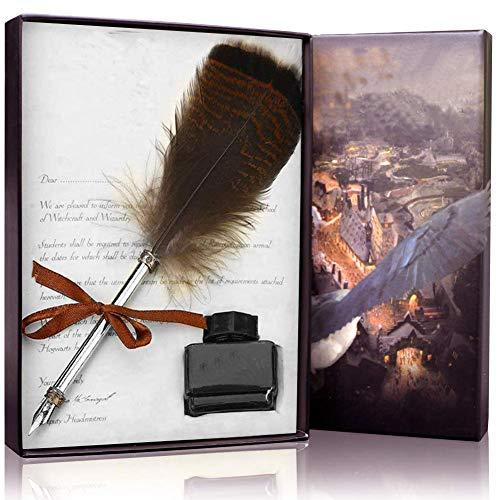 Pluma de plumas antiguas con juego de tinta, pluma de caligrafía, juego de bolígrafos para regalo de cumpleaños para amigos y niños