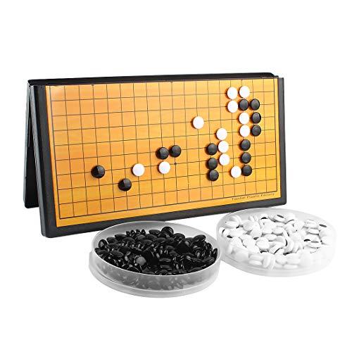 Larcele Juego plegable magnético Go con piedras y tabla para viajar, CXWQ-01 (mediano)